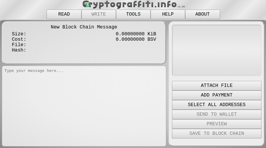 Screenshot of CryptoGraffiti page